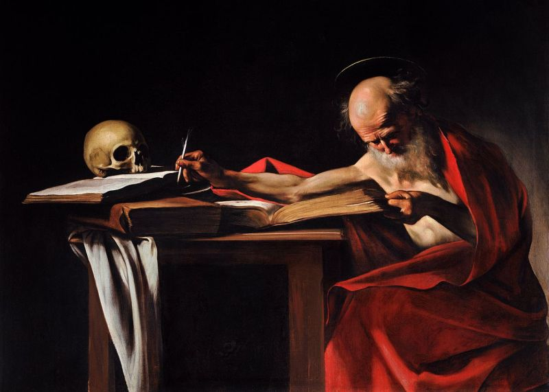 Saint Jerome Writing, by Caravaggio, c. 1605-06. Galleria Borghese, Rome, Italy. Via IllustratedPrayer.com