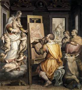 St. Luke Painting the Virgin, by Giorgio Vasari, c. 16th century. Basilica della Santissima Annunziata, Florence, Italy. Via IllustratedPrayer.com