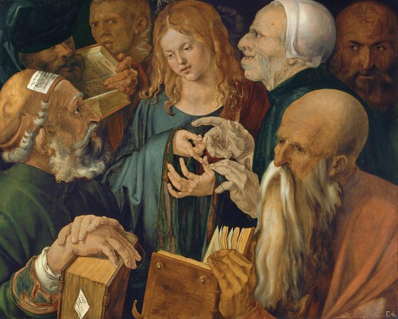 Jesus Among the Doctors, by Albrecht Dürer, C. 1506. Museo Thyssen-Bornemisza, Madrid, Spain. Via IllustratedPrayer.com