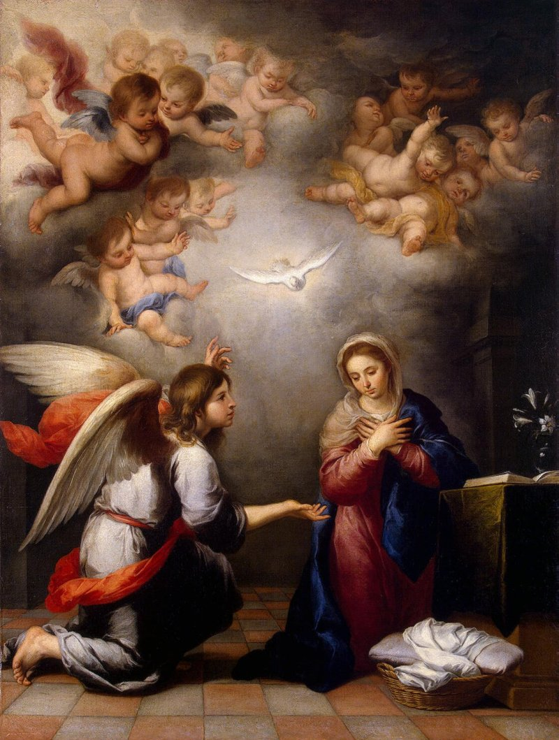 Annunciation, by Bartolomé Esteban Murillo, c. 1660. State Hermitage Museum, Saint Petersburg, Russia. Via IllustratedPrayer.com