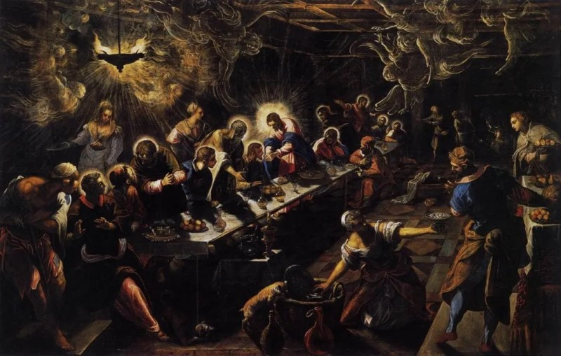The Last Supper, by Il Tintoretto, c. 1592-94. San Giorgio Maggiore, Venice, Italy. Via IllustratedPrayer.com
