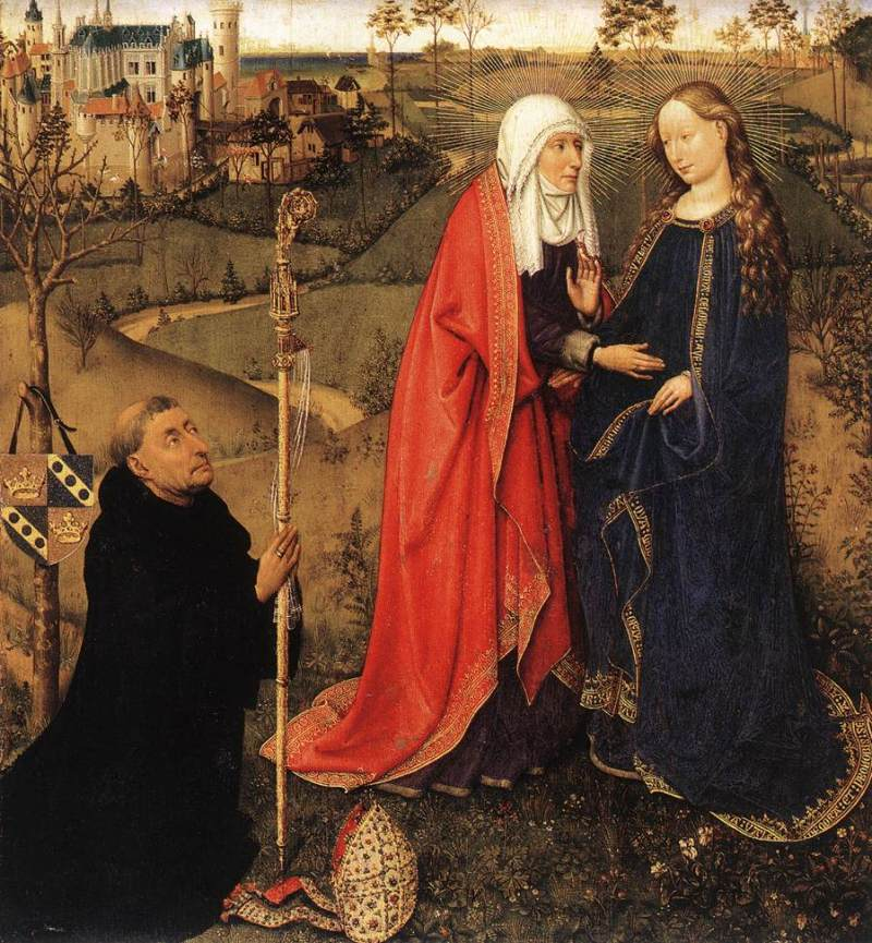 Visitation, from Altarpiece of the Virgin (St Vaast Altarpiece) by Jacques Daret c. 1434-35. Staatliche Museen, Berlin, Germany. Via IllustratedPrayer.com