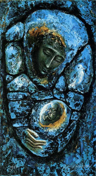 Mary Mother of God (Blue Madonna), by Michael Felix Gilfedder, c. 1980s. Copyright to Michael Felix Gilfedder. Used with permission. High quality print available for purchase at his store... click link for details! Via IllustratedPrayer.com