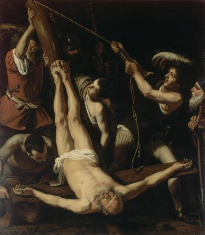Martyrdom of St. Peter, by Caravaggio, c. 1571-1610. State Hermitage Museum, St. Petersburg, Russia. Via IllustratedPrayer.com