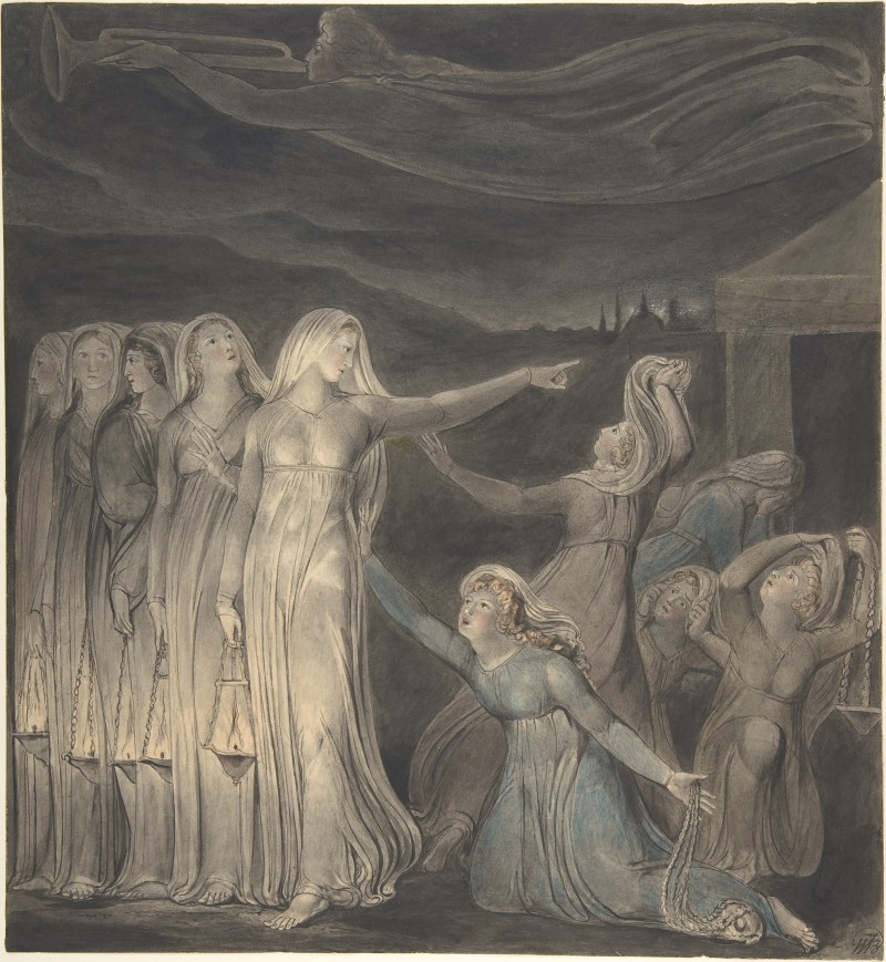 The Parable of the Wise and Foolish Virgins, by William Blake, c. 1799-1800. The Metropolitan Museum of the Arts, New York, New York, United States. Via IllustratedPrayer.com