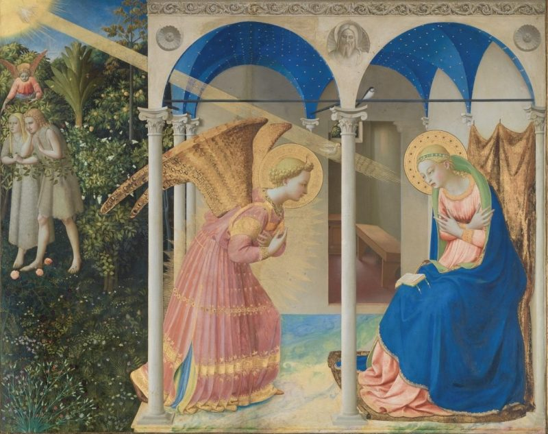 Annunciation, by Fra Angelico, c. 1425-28. Museo del Prado, Madrid, Spain. Via IllustratedPrayer.com