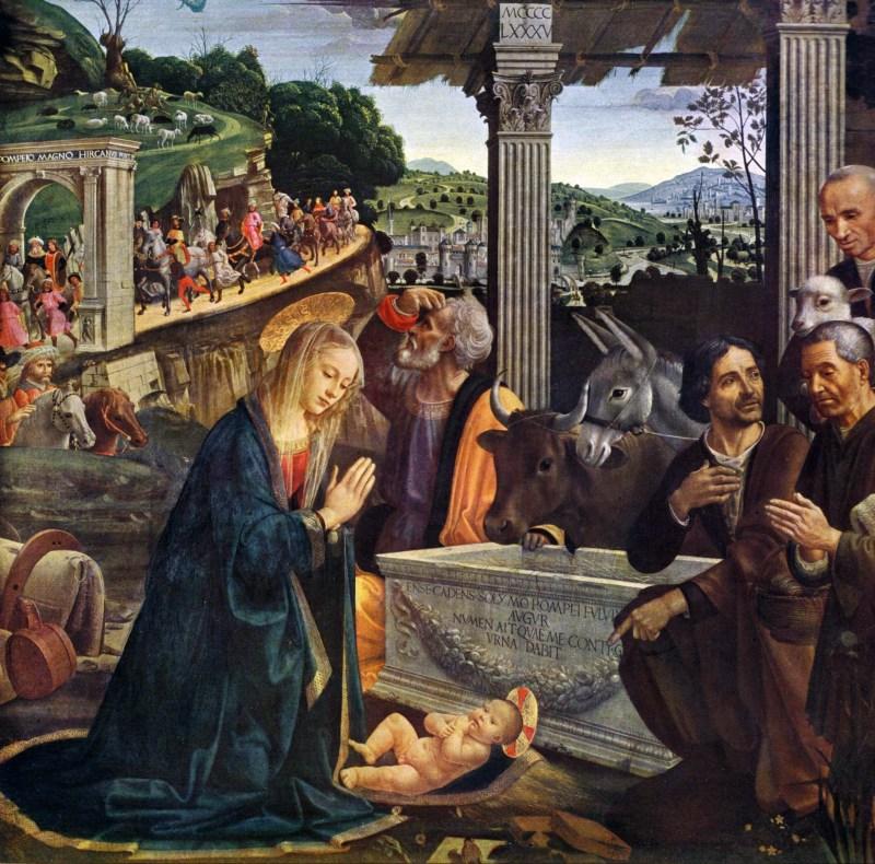 Adoration of the Shepherds, by Domenico Ghirlandaio, c. 1485. Santa Trinita, Florence, Italy. Via IllustratedPrayer.com