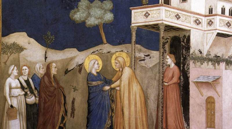 The Visitation, by Giotto, c. 1310s. Lower Church, San Francesco, Assisi, Italy. Via IllustratedPrayer.com