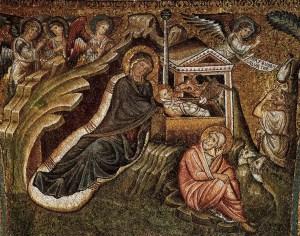 Nativity, by Jacopo Torriti, c. 1291-1296. Basilica di Santa Maria Maggiore, Rome, Italy. Via IllustratedPrayer.com