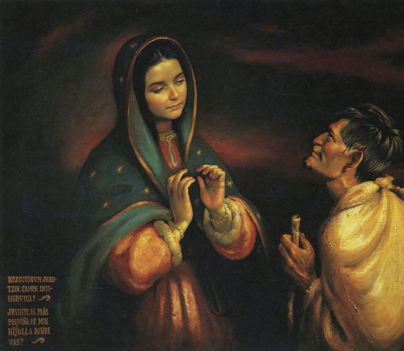 """Origin of artwork unknown. Text on artwork says in Spanish and the Aztec language, """"My dear little Juan, the littlest of my sons, where are you going?"""" Via IllustratedPrayer.com"""