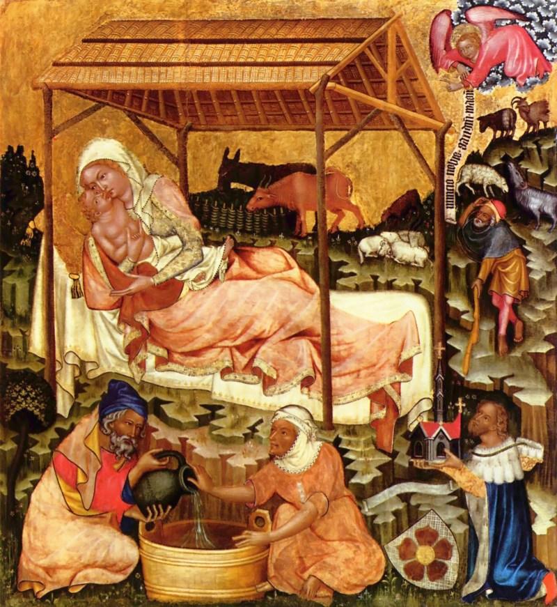 Nativity, by Master of Vyšší Brod, c. 1350. Národni Galerie, Prague, Czechia. Via IllustratedPrayer.com