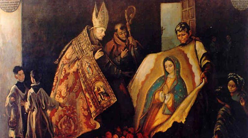 Saint Juan Diego and the Bishop. Via IllustratedPrayer.com