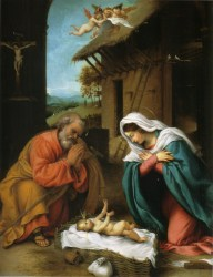 Nativity, by Lorenzo Lotto, c. 1523. National Gallery of Art, Washington, D.C., United States. Via IllustratedPrayer.com
