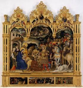 Adoration of the Magi, by Gentile da Fabriano, c. 1423. Uffizi Gallery Museum, Florence, Italy. Via IllustratedPrayer.com
