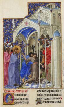 The Exorcism from Les Très Riches Heures du duc de Berry, c. 15th century. Musee de Conde, Chantilly, France. Via IllustratedPrayer.com