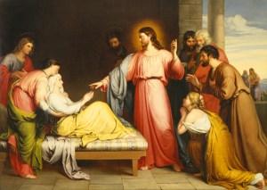 Christ Healing the Mother of Simon Peter's Wife, by John Bridges, c. 1839. Birmingham Museum of Art, Birmingham, Alabama, United States. Via IllustratedPrayer.com