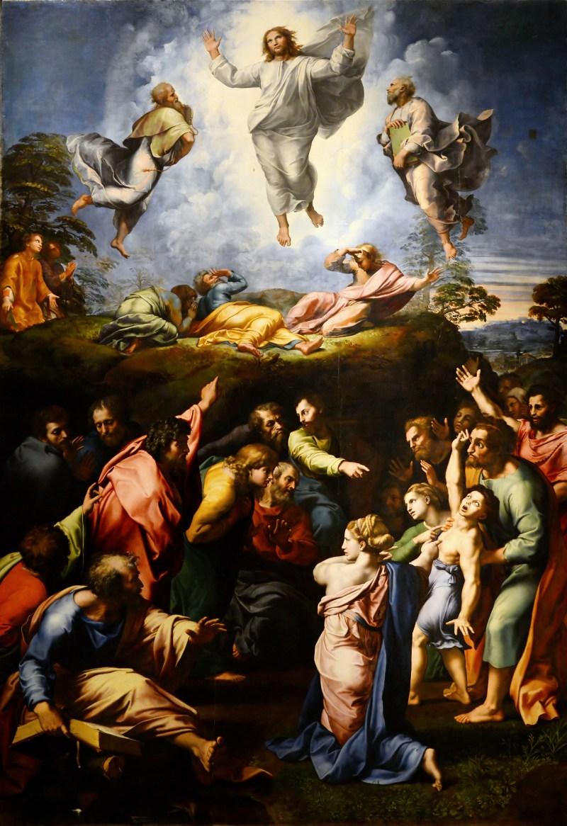 Transfiguration of Christ, by Raphael, c. 1518-20. Pinacoteca Vaticana, Vatican, Vatican City. Via IllustratedPrayer.com