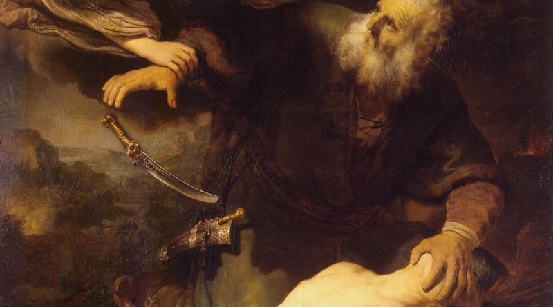 Sacrifice of Isaac, by Rembrandt van Rijn, c. 1635. State Hermitage Museum, St. Petersburg, Russia. Via IllustratedPrayer.com