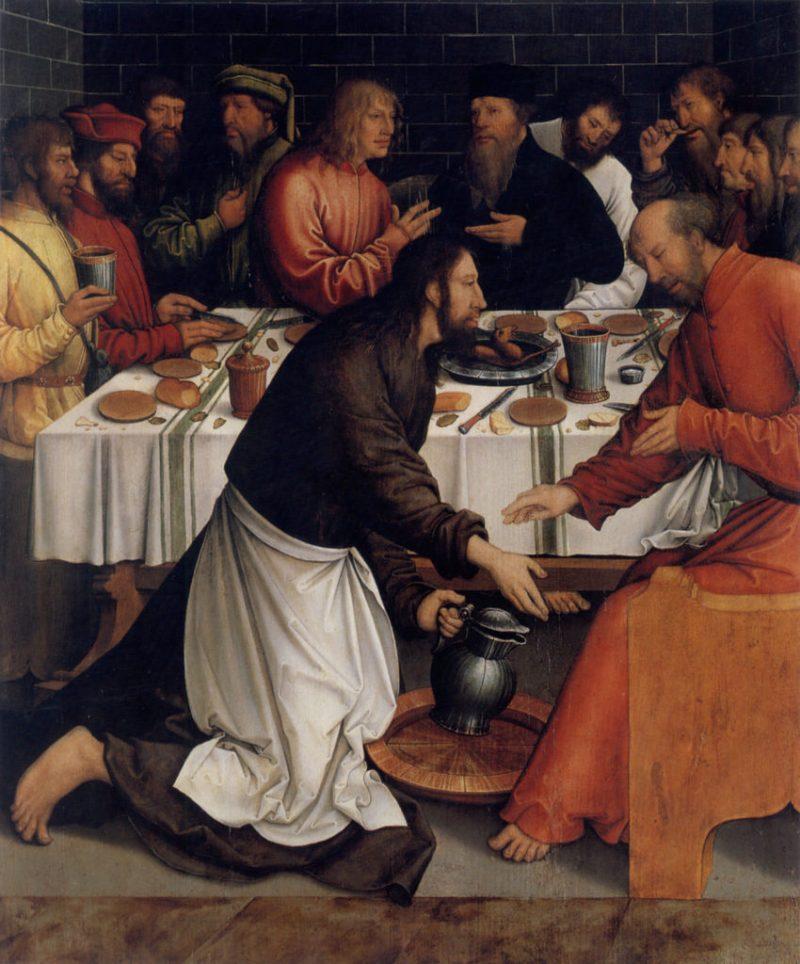 Christ Washing the Disciples' Feet, by Bernhard Strigel, c. 1520s. Staatliche Kunsthalle Karlsruhe, Karlsruhe, Germany. Via IllustratedPrayer.com