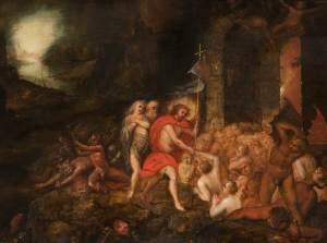 The Harrowing of Hell, by Frans Francken II, c. 17th century. Grosvenor Museum, Chester, United Kingdom. Via IllustratedPrayer.com