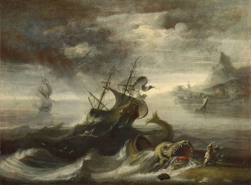 Jonah and the Whale, by Italian master, c. 17th century. Private collection. Via IllustratedPrayer.com
