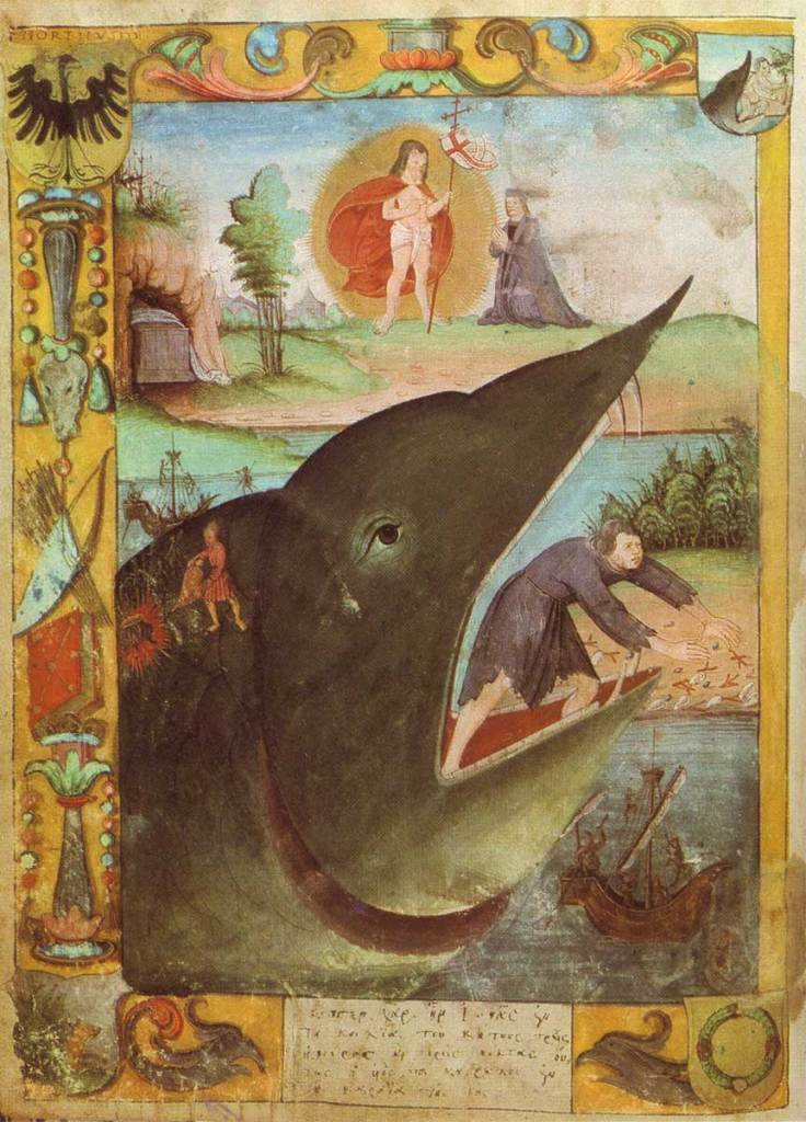 Jonah and the Whale, c. 16th century. Coat of Arms for Justus Jonas. Via IllustratedPrayer.com
