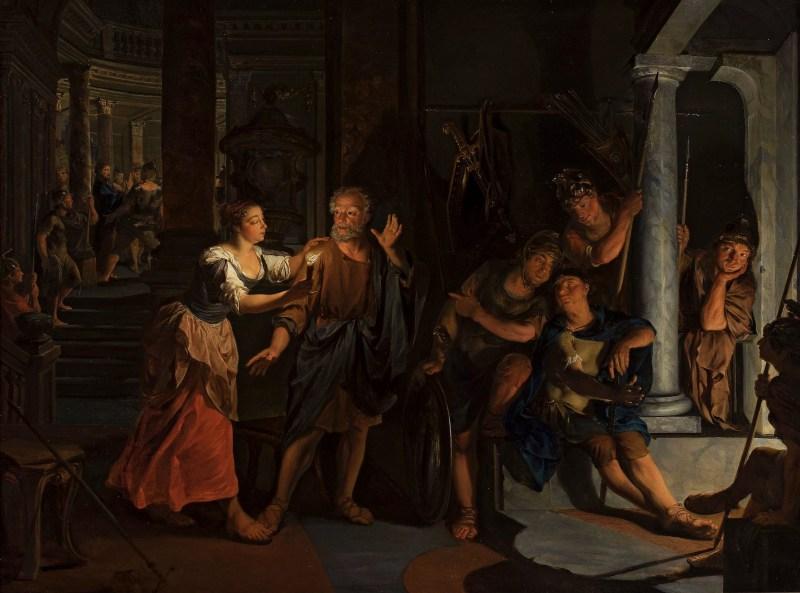 The Denial of St. Peter, by Nikolaas Verkolje, 17th century. National Museum in Warsaw, Warsaw, Poland. Via IllustratedPrayer.com