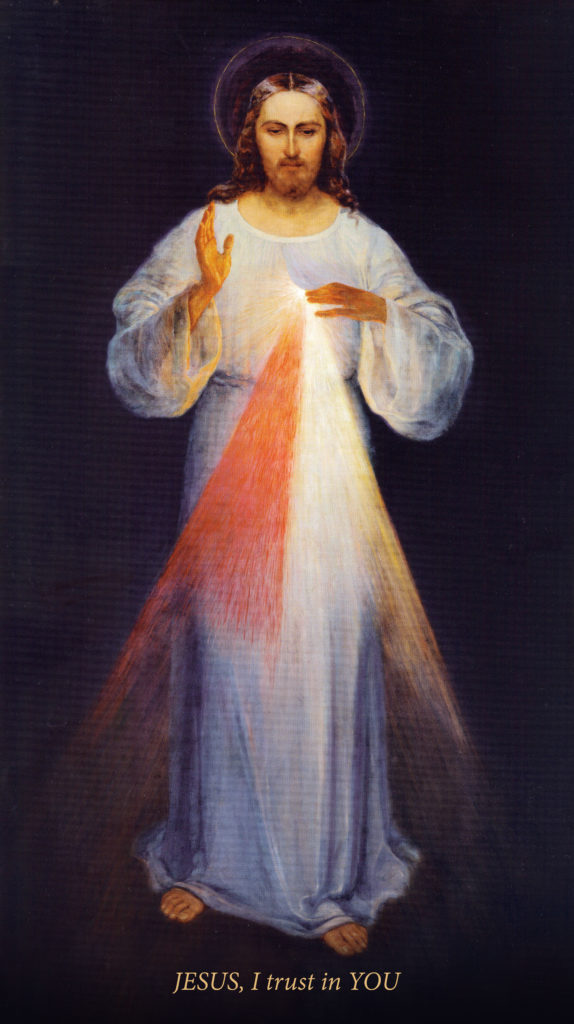 Divine Mercy, by Eugeniusz Kazimirowski, c. 1934. (This image is a reproduction of the original artwork with English words; original words were in Polish.) Original is located at the Sanctuary of the Divine Mercy, Vilnius, Lithuania. Via IllustratedPrayer.com