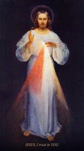 Divine Mercy, by Eugeniusz Kazimirowski, c. 1934. Sanctuary of the Divine Mercy, Vilnius, Lithuania. Via IllustratedPrayer.com