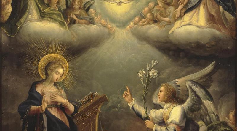 The Annunciation, by Lucenti de Correggio, c. 1610s. State Hermitage Museum, St. Petersburg, Russia. Via IllustratedPrayer.com
