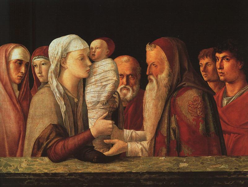 The Presentation at the Temple, by Giovanni Bellini, c. 1459. The Fondazione Querini Stampalia, Venice, Italy. Via IllustratedPrayer.com