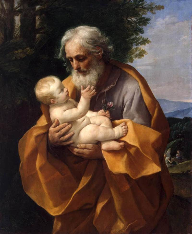 St. Joseph with the Child Jesus, by Guido Reni, c. 1620s. State Hermitage Museum, St. Petersburg, Russia. Via IllustratedPrayer.com
