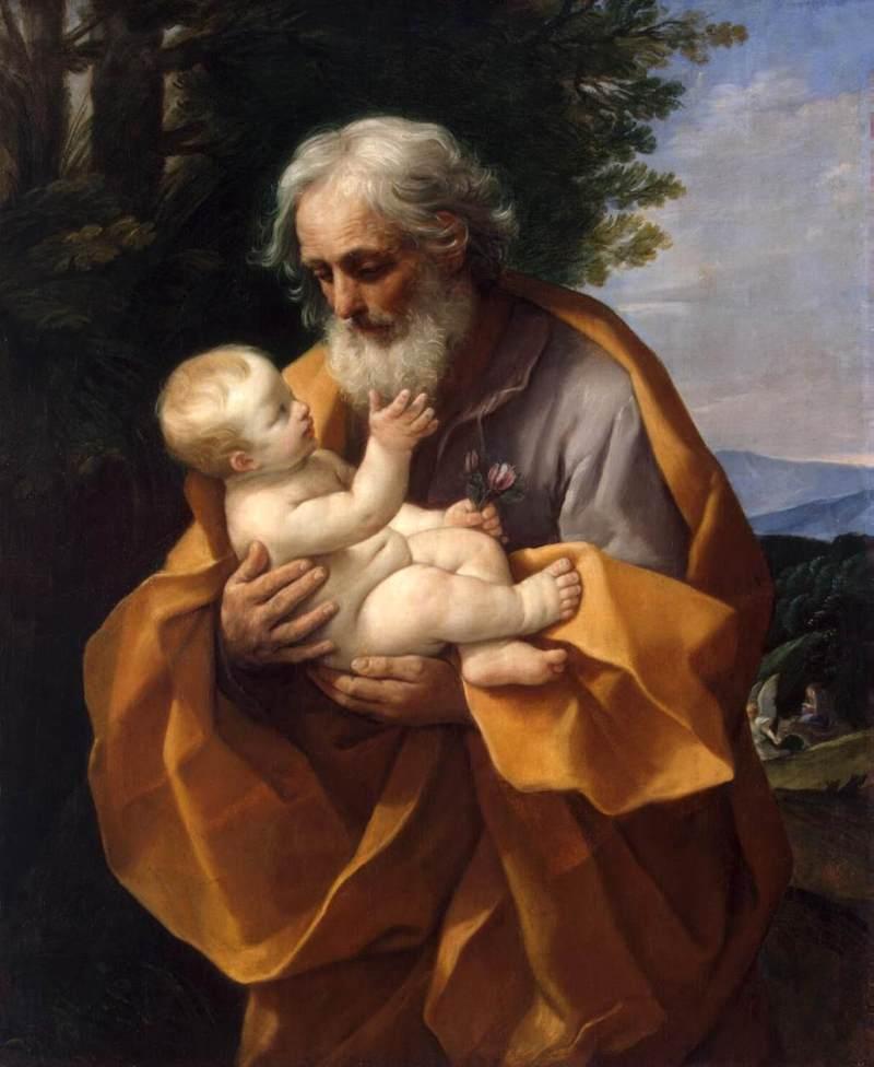St. Joseph with the Child Jesus, by Guido Reni, c. 1620s. State Hermitage Museum, St. Petersburg, Russia. Via IllustratedPrayer.com