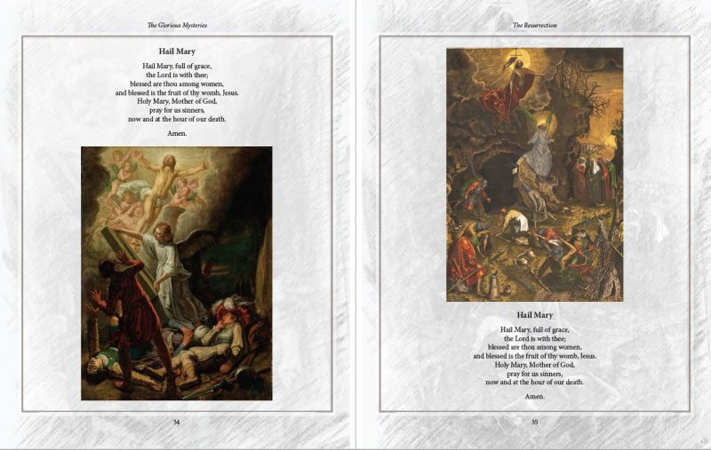 Sample pages of the Resurrection, featuring the Hail Mary prayers. Via IllustratedPrayer.com