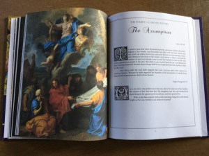 This is what the scripture readings for the Assumption in my book, The Glorious Mysteries, looks like! Via IllustratedPrayer.com