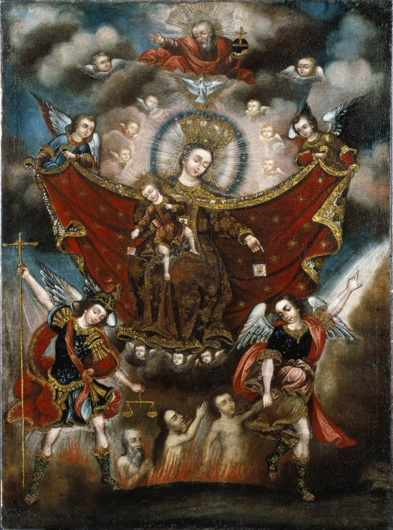 Virgin of Carmel Saving Souls in Purgatory, by Cusco School, c. 17th century. Brooklyn Museum, New York, New York, United States. Via IllustratedPrayer.com