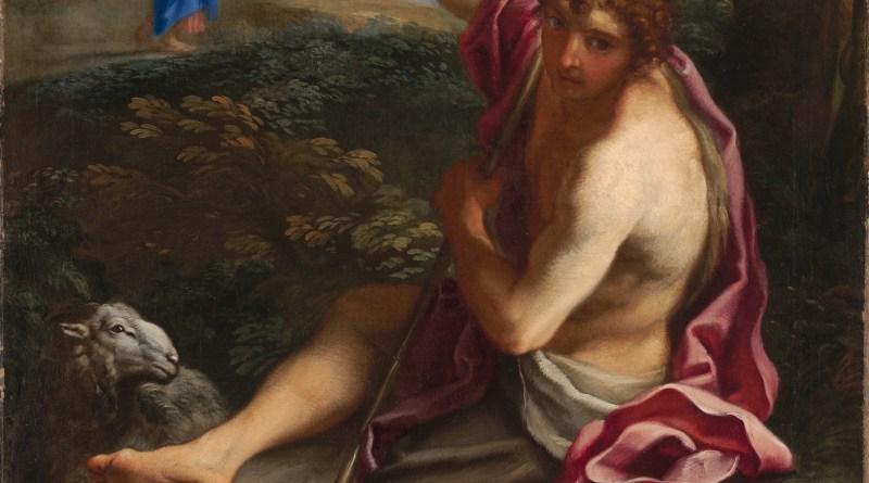 Saint John the Baptist Pointing to Christ in a Landscape, by Carlo Maratti, c. 1656. Fogg Art Museum, Cambridge, Massachusetts, United States. Via IllustratedPrayer.com