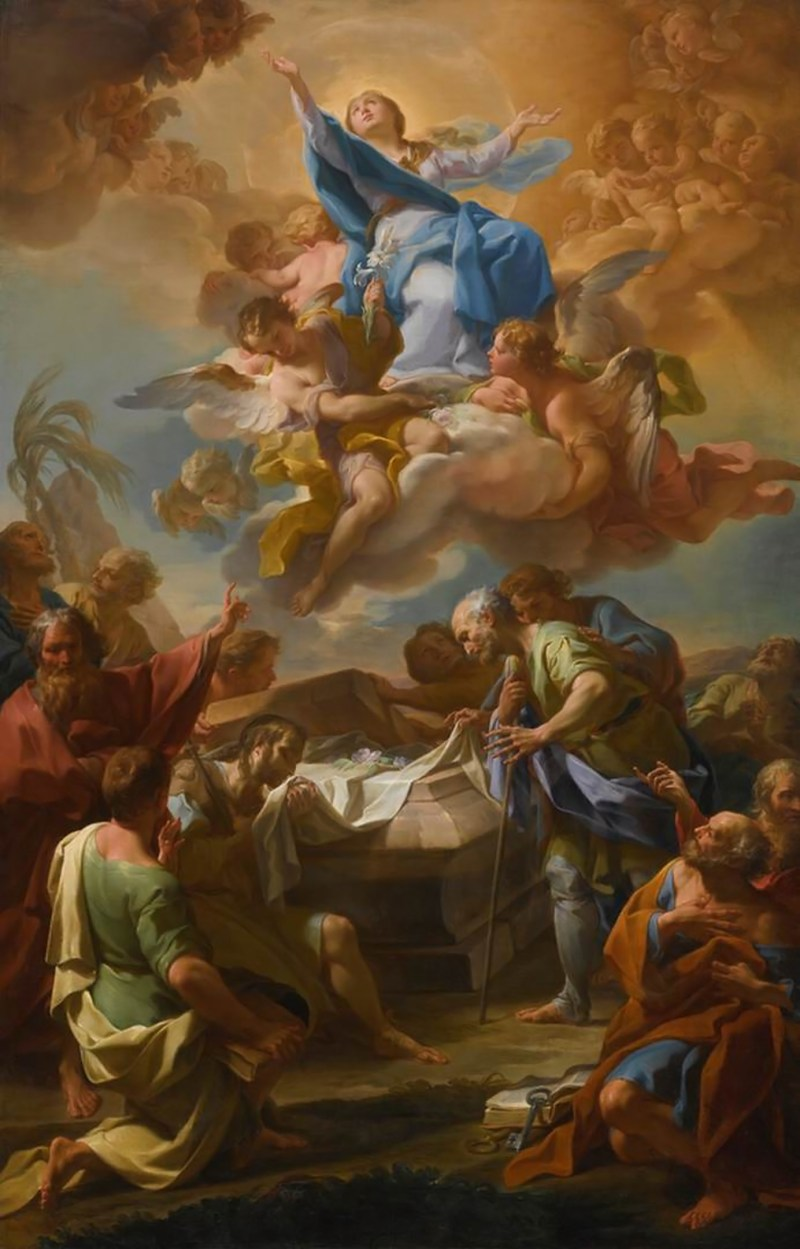 Assumption of the Virgin, by Corrado Giaquinto, c. 1740s. Private collection. Via IllustratedPrayer.com