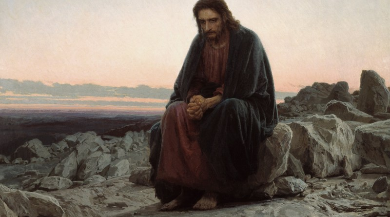 Christ in the Wilderness, by Ivan Kramskoy, c. 1872. Tretyakov Gallery, Moscow, Russia. Via IllustratedPrayer.com
