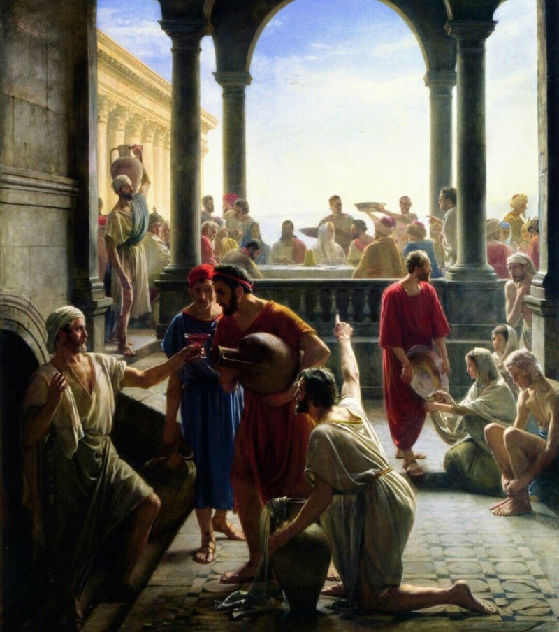 The Wedding at Cana, by Carl Heinrich Bloch, c. 1870. Museum of National History, Frederiksborg Slot, Hillerød, Denmark. Via IllustratedPrayer.com