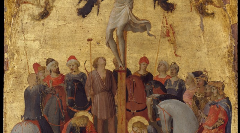 The Crucifixion, by Fra Angelico, c. 1420-23. Metropolitan Museum, New York, New York, United States. Via IllustratedPrayer.com