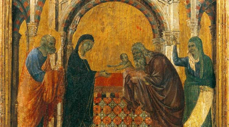 Presentation in the Temple, by Duccio di Buoninsegna, c. 1308-11. Museo dell'Opera del Duomo, Siena, Italy. Via IllustratedPrayer.com