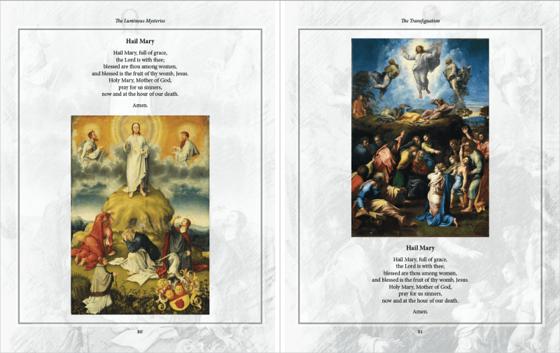 Sneak Peek at The Luminous Mysteries by Karina Tabone - The Transfiguration. Via IllustratedPrayer.com