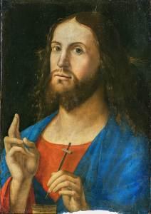 The Redeemer Giving His Blessing, by Alvise Vivarini, c. 1498. Pinacoteca di Brera, Milan, Italy. Via IllustratedPrayer.com