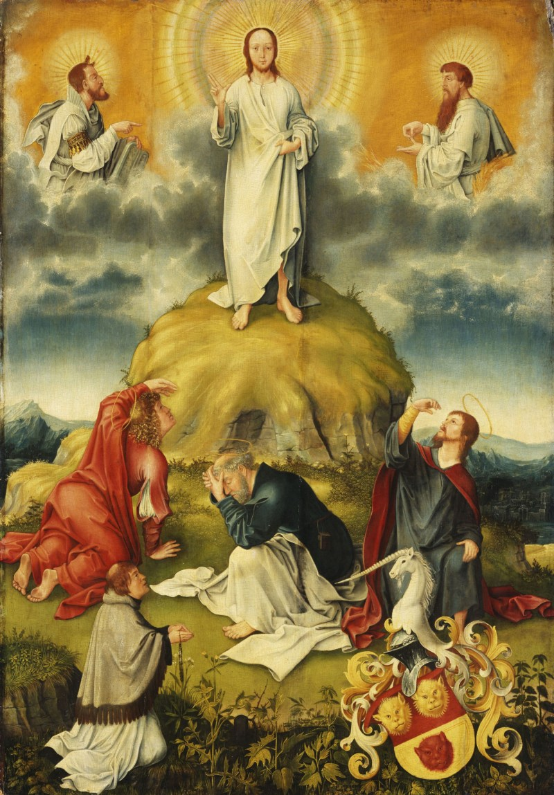 Coat of Arms of Johannes Göckerlein: The Transfiguration of Christ, by Jacob Apt, c. 1515. Gemäldegalerie Alte Meister, Kassel, Germany. Via IllustratedPrayer.com