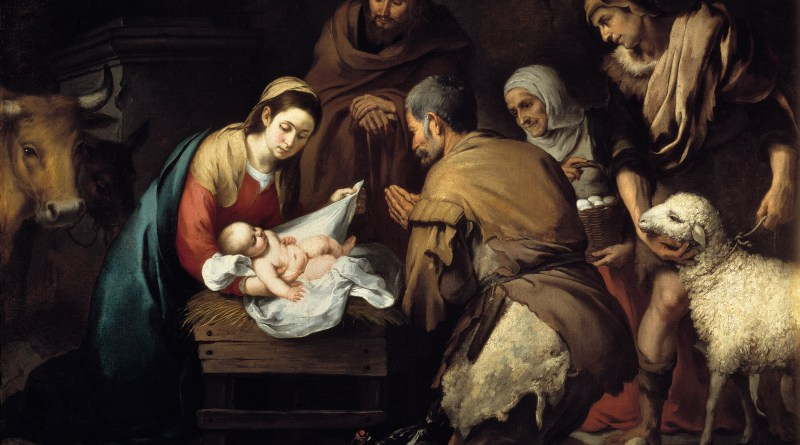 The Adoration of the Shepherds, by Bartolome Esteban Murillo, c. 1650. Museo del Prado, Madrid, Spain. Via IllustratedPrayer.com
