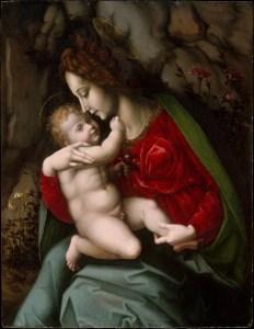 Madonna and Child, by Bachiacca (Francesco d'Ubertino Verdi), c. 1520. Metropolitan Museum of Art, New York, New York, United States. Via IllustratedPrayer.com