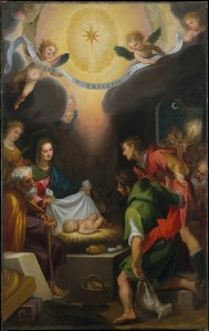 The Adoration of the Shepherds with Saint Catherine of Alexandria, by Cigoli (Ludovico Cardi), c. 1599. Metropolitan Museum of Art, New York, New York, United States. Via IllustratedPrayer.com