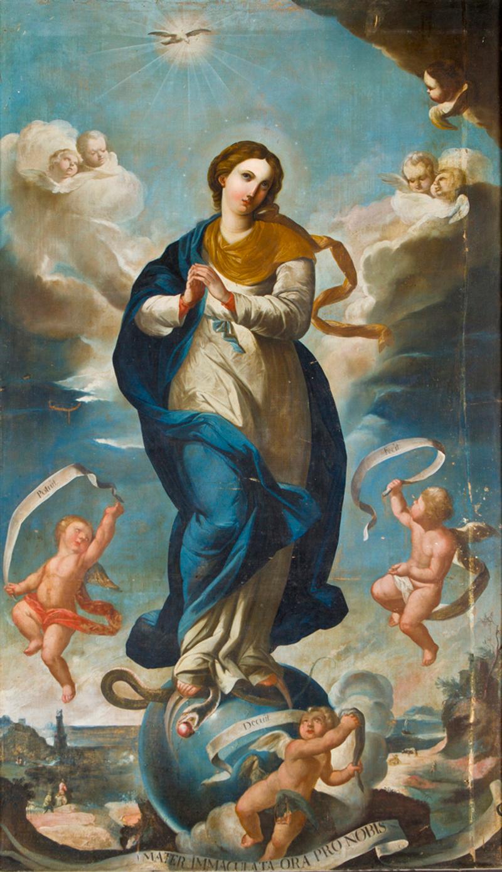 Immaculate Conception, by Manuel Oquendo, c. 1800. Iglesia de Santo Domingo, Sucre, Bolivia. Via IllustratedPrayer.com