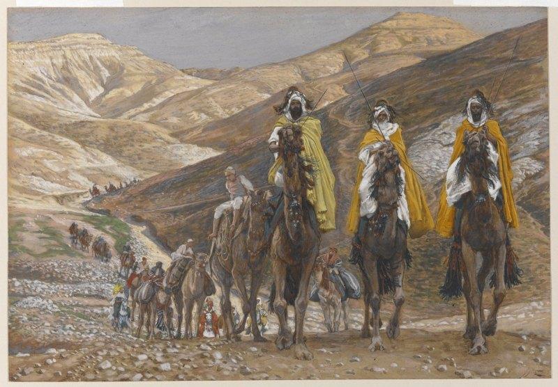 The Magi Journeying, by James Tissot, c. 1886-94. Brooklyn Museum, New York, New York, United States. Via IllustratedPrayer.com